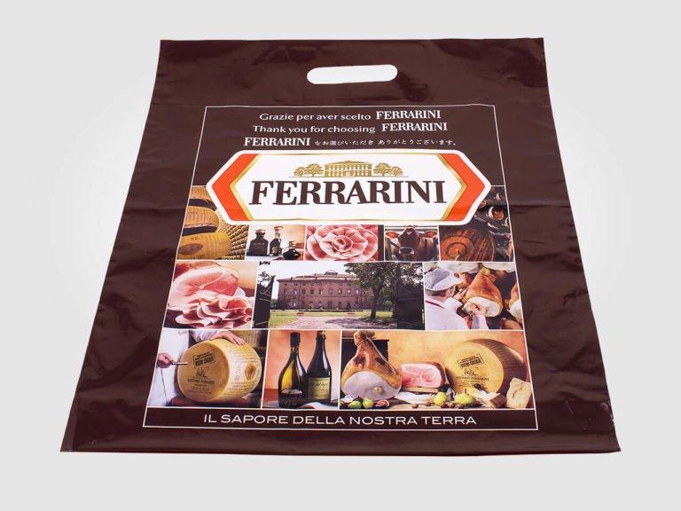 Sacchetto maniglia incisa Ferrarini stampato in quadricromia alta risoluzione